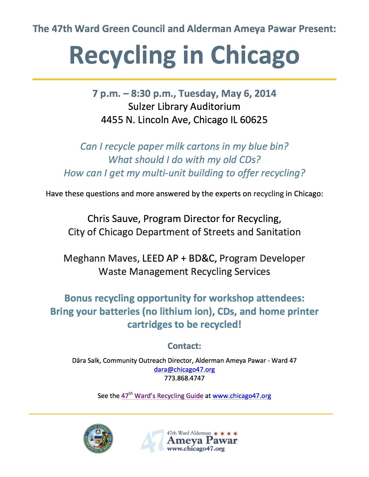 2014 Recycling Talk flyer